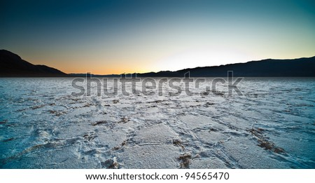 Death Valley view at the Bad Water salt lake - stock photo