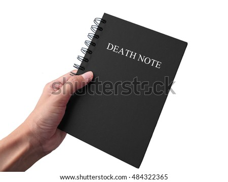 DeathNote, black book with hand isolated on white background