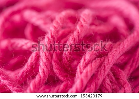 Deatil of fluffy wool yarn used for knitting and crochet work - stock photo