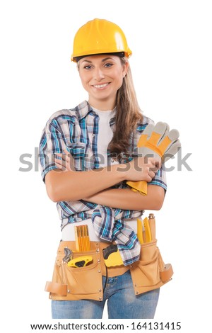sexy construction girls beautiful sexy girl work wear holding stock photo 9128