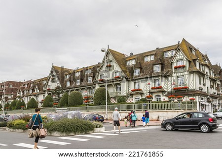 DEAUVILLE, FRANCE - JULY 18, 2012: City view of Deauville. Deauville is a commune in Calvados department in the Basse-Normandie region in northwestern France near the Channel. - stock photo