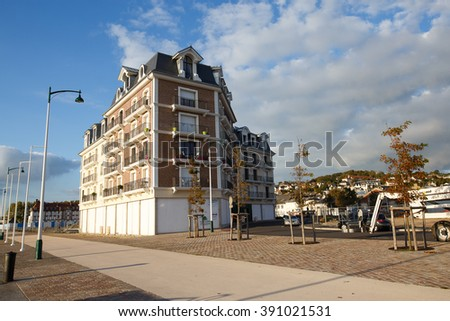 Deauville, France - October  9, 2015: The building at the marina in the city of Deauville, Normandy - stock photo