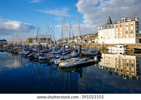 Deauville, France - October  9, 2015: Yachts at the marina in Deauville, Normandy, France - stock photo