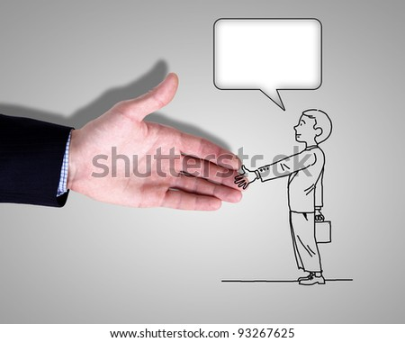 Deawing of a man shaking human hand
