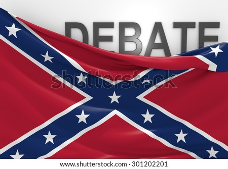 Debate over display of the southern rebel Confederate National Flag - stock photo