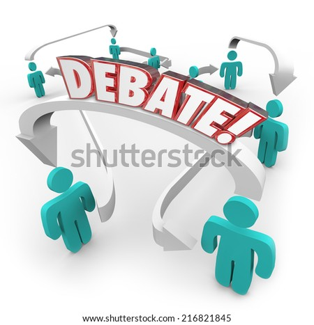 Debate word in red 3d letters on arrows connecting people discussing disagreements and exchanging or sharing ideas - stock photo