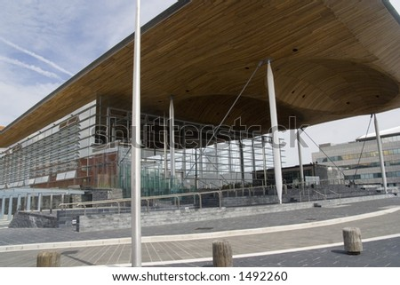 Debating chambers for the new Welsh Assembly Government. Sustainable modern architecture in glass, slate and steel. - stock photo