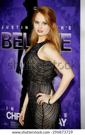 "Debby Ryan at the World premiere of ""Justin Bieber's Believe"" held at the Regal Cinemas L.A. Live in Los Angeles on December 18, 2013 in Los Angeles, California.   - stock photo"