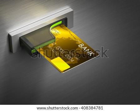 Debit card in a cash machine 3D rendering. - stock photo