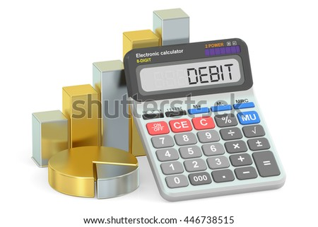 Debit concept, 3D rendering isolated on white background - stock photo