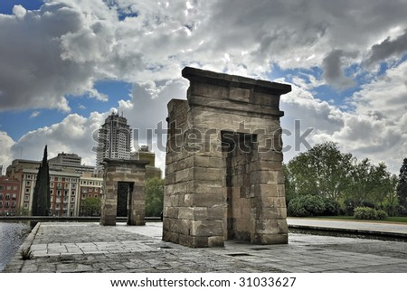 Debod temple, Madrid Spain - stock photo