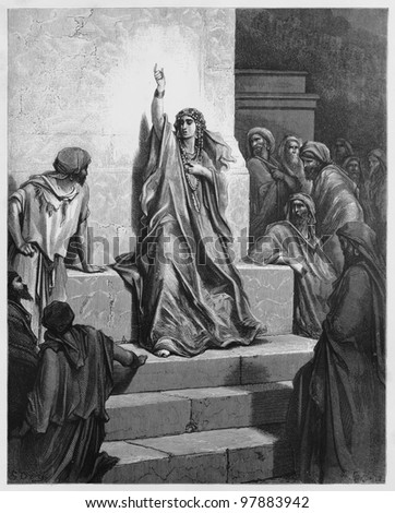Deborah - Picture from The Holy Scriptures, Old and New Testaments books collection published in 1885, Stuttgart-Germany. Drawings by Gustave Dore. - stock photo