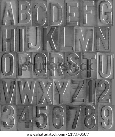 Debossed and brushed aluminum type