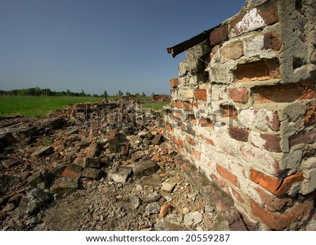 Debris of a destroyed brick building - stock photo