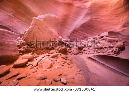 Debris Rocks in Antelope Canyon, USA - stock photo