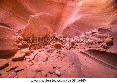 Debris Rocks in Lower Antelope Canyon, Arizona, USA
