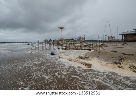 Debris washed ashore at Coney Island by hurricane Sandy. - stock photo