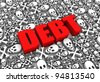 DEBT 3D text surrounded by skull and crossbones symbols. Part of a series. - stock photo