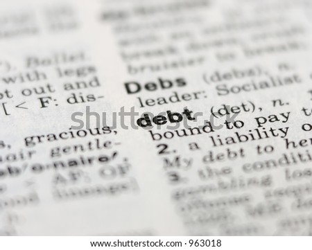 Debt Definition in old dictionary - stock photo