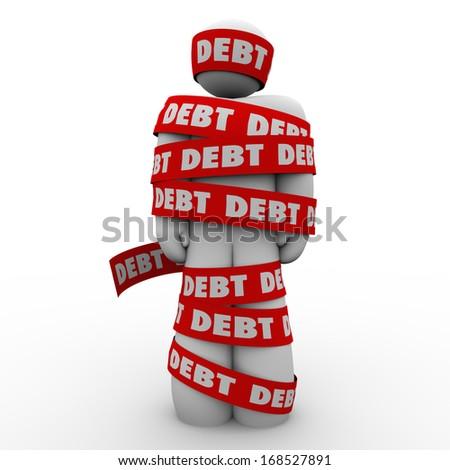 Debt Man Wrapped Tape Budget Deficit Problem - stock photo