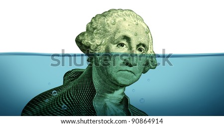 Debt problems keeping your financial head above water represented by a drowning George Washington portrait sinking in blue water as a symbol of urgent business and money management failure and defeat. - stock photo