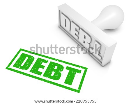 Debt rubber stamp. Part of a series of stamp concepts. - stock photo