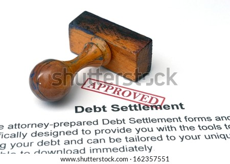 Debt settlement - approved - stock photo