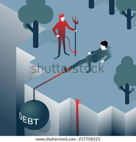 Debt takes off man over a cliff. Load pulls into the abyss. Bankruptcy, liabilities