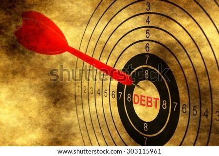 Debt target on grunge background - stock photo