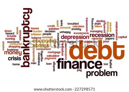 Debt word cloud concept - stock photo