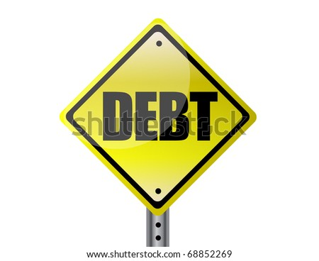Debt Yellow street sign isolated over white - stock photo