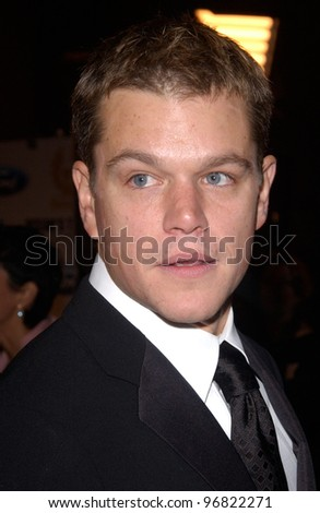 Dec 8, 2004; Los Angeles, CA: Actor MATT DAMON at the Hollywood premiere of his new movie Ocean's Twelve.
