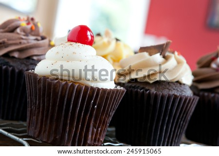 Decadent gourmet cupcakes frosted with a variety of flavors. Shallow depth of field - stock photo
