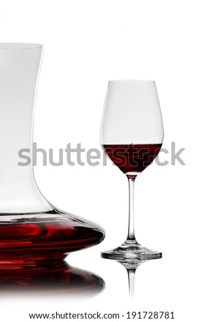 decanter and glass with wine - stock photo