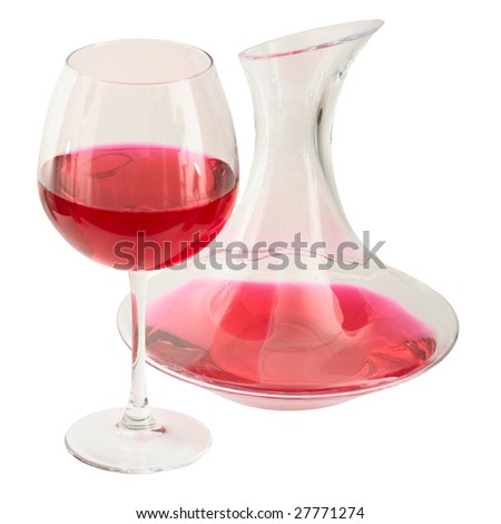 Decanter and goblet on the white background - stock photo
