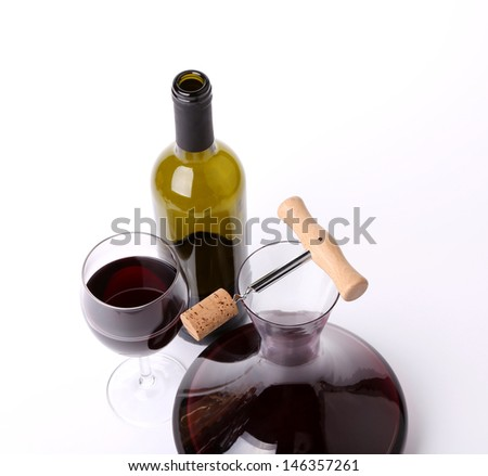 decanter, bottle and glass with red wine top view - stock photo