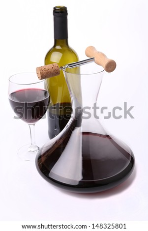 Decanter, bottle and glass with red wine top view. - stock photo