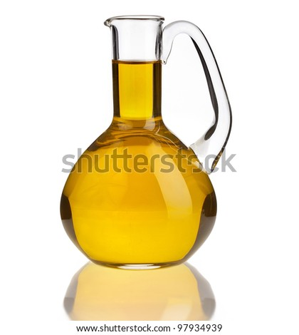 decanter with oil isolated on white background - stock photo