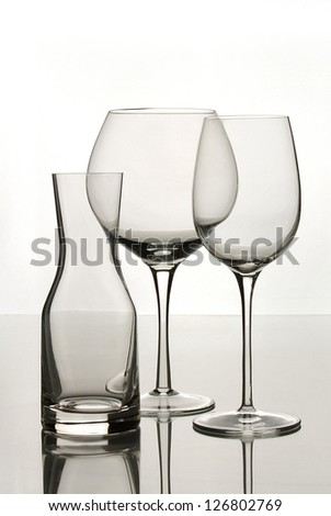 Decanter with Red Wine, White Wine Glasses