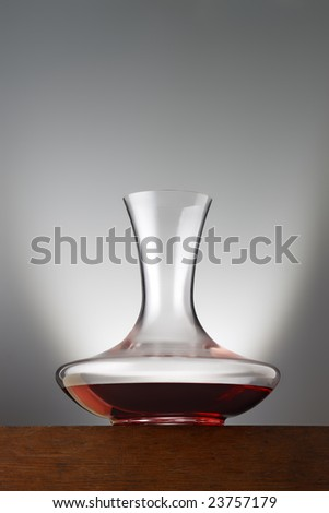 decanter with redwine - stock photo