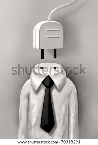 Decapitated Head of a Businessman in white shirt with a Socket instead of his Neck - stock photo