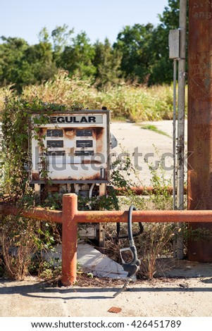 Decayed Gasoline Dispenser at an Abandoned Gas Station in Louisiana