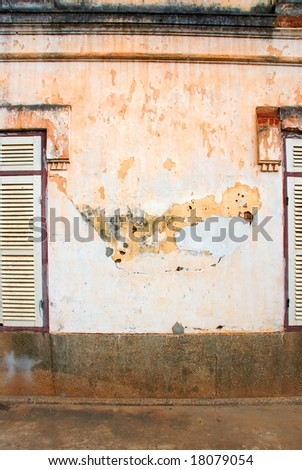 decayed wall - stock photo
