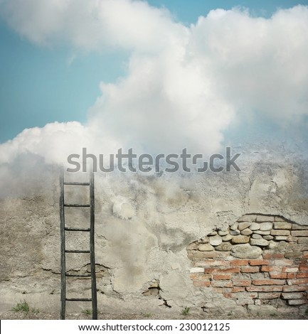 Decaying wall with a ladder disappearing in the clouds - stock photo