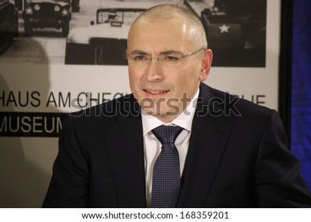 DECEMBER 22, 2013 - BERLIN: former oligarch and prisoner Mikhail Khodorkovsky (Michail Chodorkowski) during the first press conference after his release from prison, mauermuseum, Berlin.
