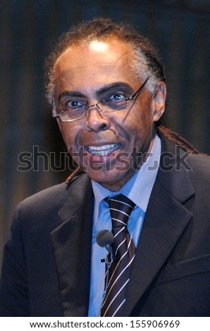 "DECEMBER 8, 2005 - BERLIN: Gilberto Gil at the presentation of the cultural program ""Cop da Cultura"" for the upcoming soccer world championship in germany, House of World Cultures, Berlin."