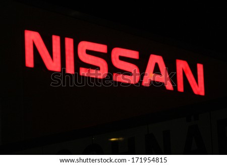 "DECEMBER 2013 - BERLIN: the logo of the brand ""Nissan"", Berlin."