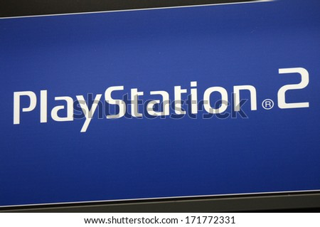 "DECEMBER 2013 - BERLIN: the logo of the brand ""Play Station 2"" (Sony), Berlin."