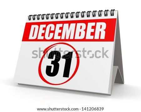 December 31 calendar - stock photo
