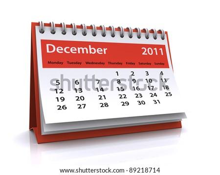 december 2011 calendar - stock photo